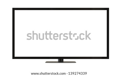 flat plasma television screen isolated on white