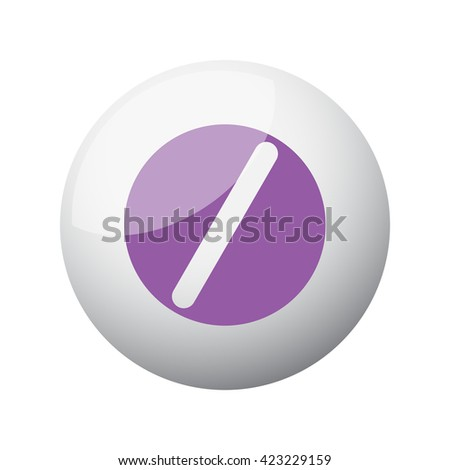 Flat purple Pill icon on 3d sphere - stock photo