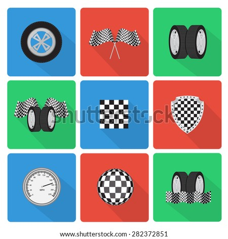 Flat race icons with long shadow - stock photo