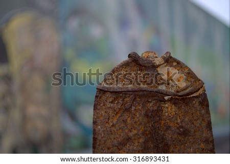 Flat Rusted Spray Paint Can With Graffiti Background - stock photo