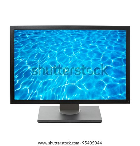 Flat screen HDTV TV with water image on screen - stock photo