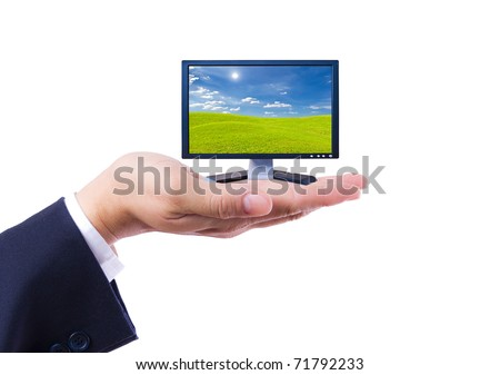 Flat screen Monitor in hand isolated - stock photo