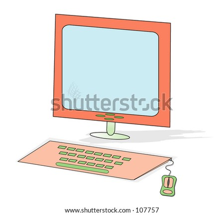 flat screen monitor with keyboard and mouse - stock photo