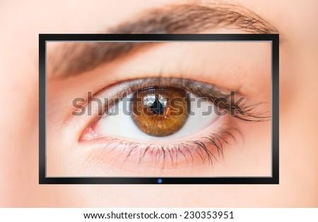 Flat screen tv  - stock photo