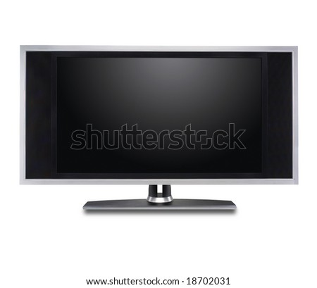 Flat screen tv isolated in white - stock photo