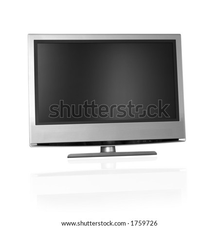 flat screen tv over white background