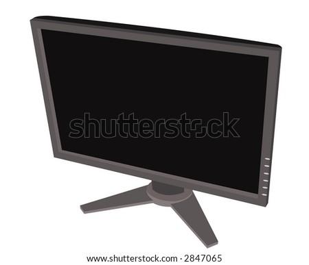 Flat Screen, Widescreen Computer Monitor (off) - stock photo