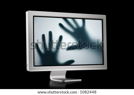 Flat Screen with hands inside - stock photo