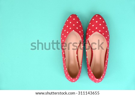 flat shoes, with polka dotted pattern - stock photo