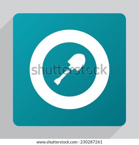 flat shovel icon, white on green background  - stock photo