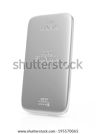Flat Silver Bar isolated on white background - stock photo