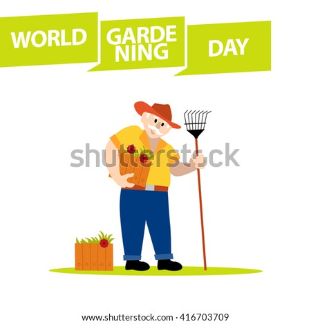 Flat simple friendly character isolated on white background. Profession human icon. Person portrait. Old man in hat standing with flower box and rake. Gardener icon. Man icon. World gardening day. - stock photo