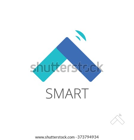 Flat Smart Home Control Logo Template Stock Illustration 373794934