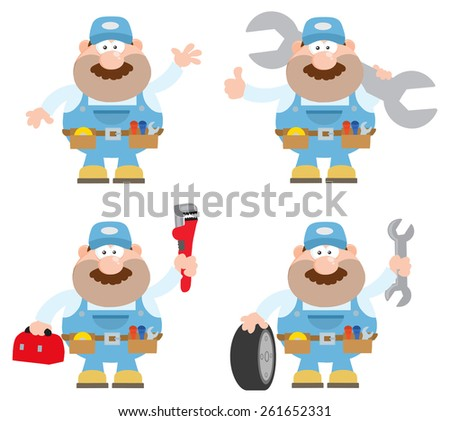 Flat Style Cartoon Illustration Of Mechanic Character 5. Raster Collection Set - stock photo