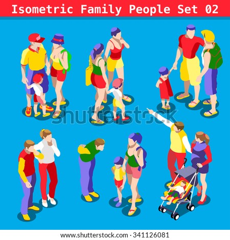 Flat style family Set. Young and Adult People in casual clothes. Elements for impressive Infographics. 3D Isometric Men and women in realistic poses. Rainbow Family Illustration