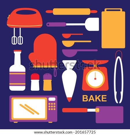 flat style icon of cooking utensils - stock photo