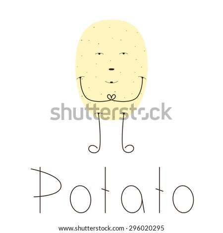 Flat style illustration of light brown pointed potato character with brown eyes, nose, mouth, long legs and hands. Lettering potato isolated on white background. Vegetarian menu decoration - stock photo