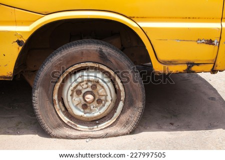 Flat tire - stock photo