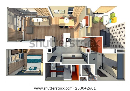 Flat top view 3d rendering - stock photo