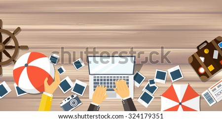 Flat travel background. Summer holidays, vacation. Plane, boat, car traveling. Tourism, trip and journey. - stock photo