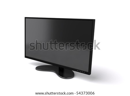 Flat tv panel isolated on white - stock photo