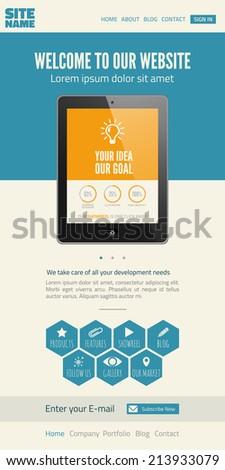Flat UI website design template - stock photo