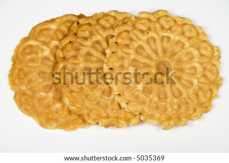 Flat vanilla cookies - isolated on white background - stock photo