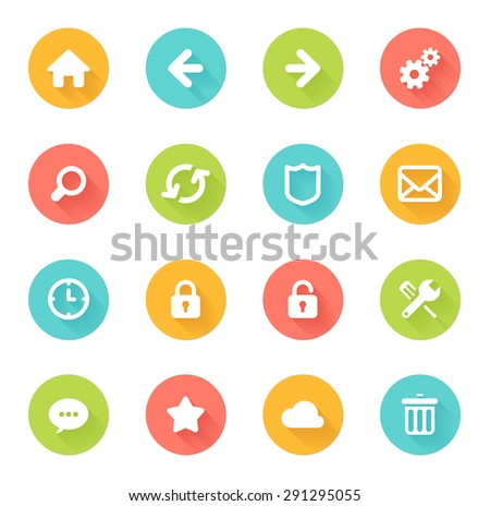 Back Icon Flat Flat Web Icons Stock Photo