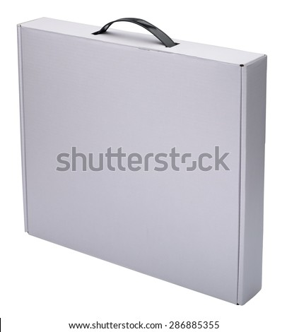 Flat white cardboard box with handle isolated on white. No shadow. In vertical situation. - stock photo