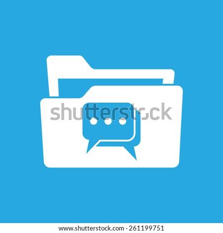flat white folder icon with chat icon pictogram - stock photo