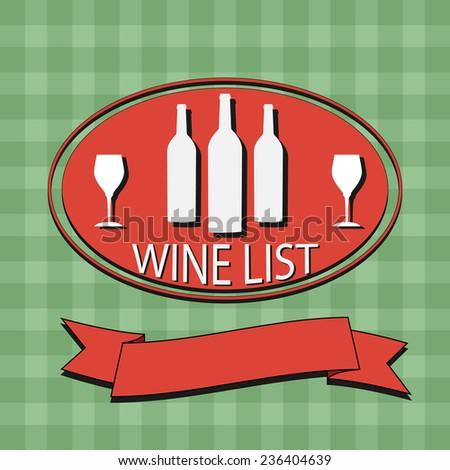 Flat Wine List Menu on striped background fabric. Card Design template logo. illustration poster.  - stock photo