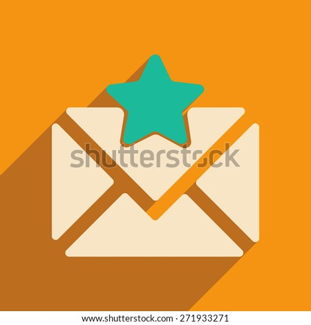 Flat with shadow icon and mobile applacation envelope star  - stock photo