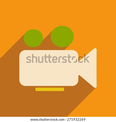 Flat with shadow icon and mobile applacation video camera  - stock photo