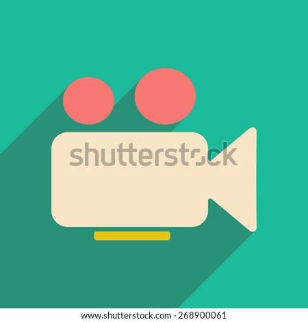 Flat with shadow icon and mobile application video camera - stock photo