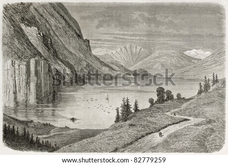 Flatdal lake old illustration, Telmark, Norway. Created by Dore after Riant, published on Le Tour du Monde, Paris, 1860 - stock photo