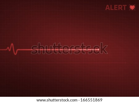 Flatline blip on a medical heart monitor EKG (electrocardiogram) with red background and heart symbol. - stock photo