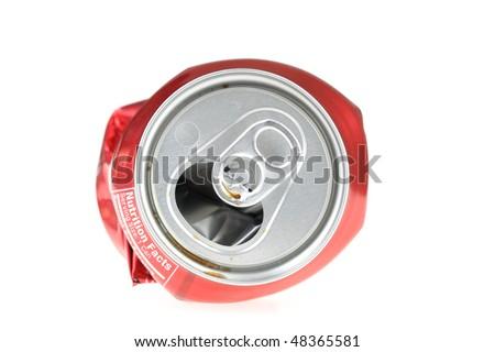 Flattened soda can. - stock photo