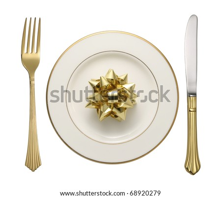 Flatware on white background.