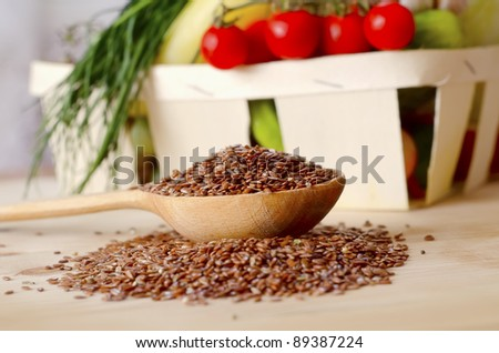 flax in spoon - stock photo