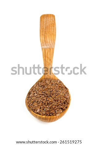flax seed isolated on white - stock photo