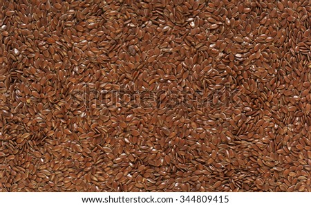 Flax seed on plate, as seeds or ground than muesli addition