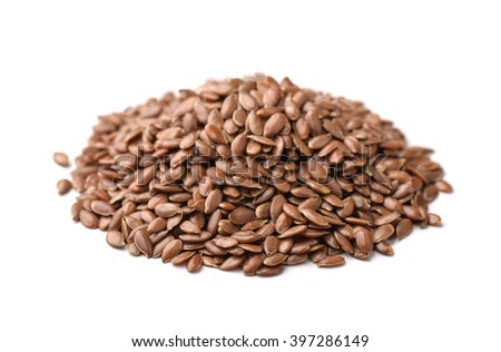 Flax seeds heap isolated on white - stock photo