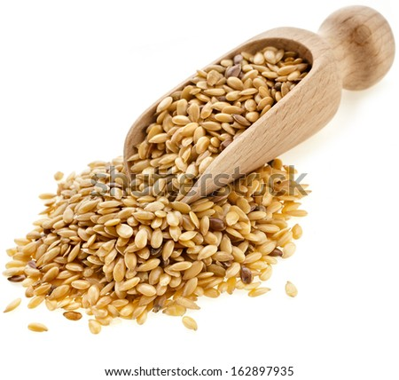 Flax seeds, Linseed, Lin seeds close-up  in wooden scoop isolated on white background  - stock photo