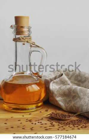 Flax Seeds On Spoon Linseed Oil Stock Photo Royalty Free 577184674