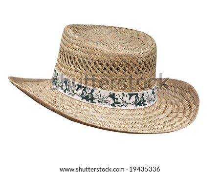 Flax Stetson with Floral Braid  isolated with clipping path - stock photo