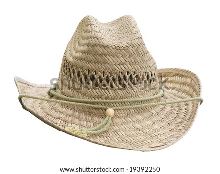 Flax Woven Stetson isolated with clipping path - stock photo