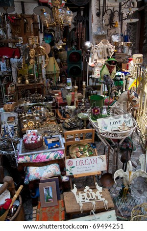 flea market at lake garda, italy - stock photo