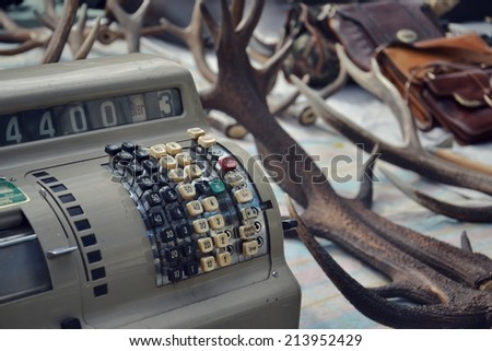 Flea market on Place du Jeu de Balle in Brussels, Belgium - stock photo