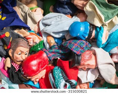 Flea market, puppets - stock photo
