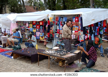 Flea Market Vendors Selling Jewellery in Chiapas, Mexico - stock photo